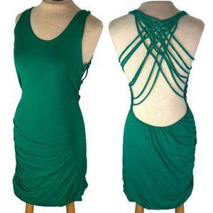 Lush Mini Strappy Back Bodycon Green Dress